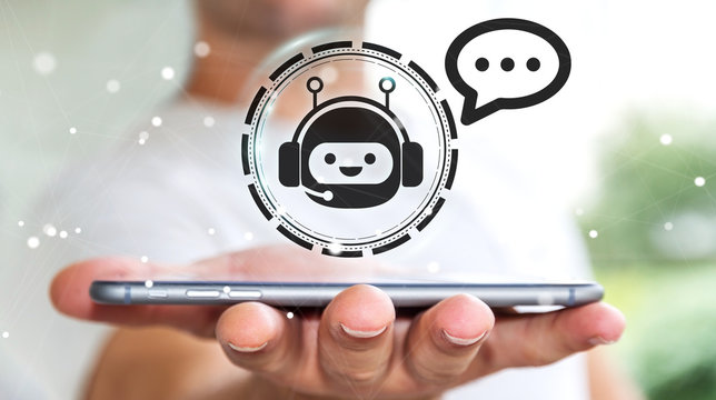 Businessman chatting with chatbot application 3D rendering