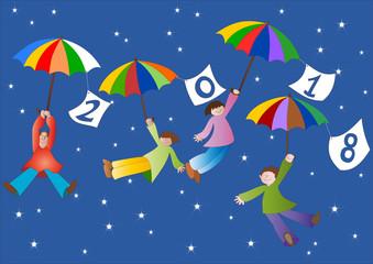 Anno nuovo con bambini in volo con ombrelli2018