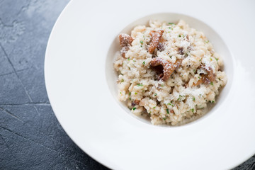 Closeup of a white plate with mushroom risotto, elevated view, horizontal shot