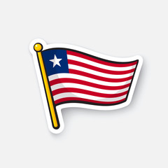Vector illustration. Flag of Liberia. Countries in Africa. Location symbol for travelers. Isolated on white background. Cartoon sticker with contour. Decoration for greeting cards, patches, prints