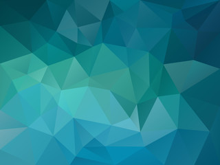 vector abstract irregular polygon background with a triangle pattern in blue sea turquoise color Fotoväggar