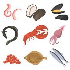 seafood flat icon set
