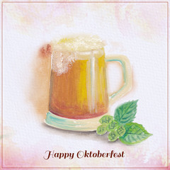 Watercolor beer mug illustration