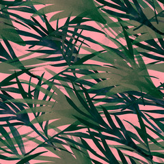 Tropical Seamless Summer Pattern Design. Painted Bohemian Botanical Background Watercolor Summer Jungle Texture. Paper Seamless Summer Pattern Design. Bright Fashion Fabric Textile Design