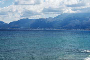 The sea and the mountains of Crete.