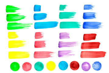 Set of multicolor paintbrush strokes and color dots