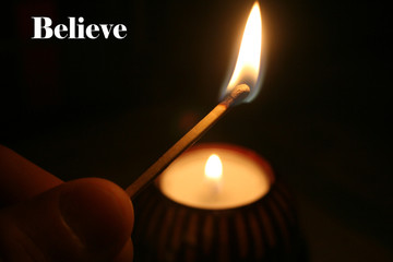 Match With Believe With Tea Candle In Background High Quality