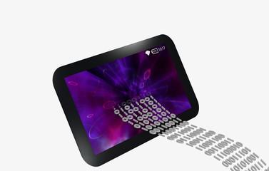 Datentransfer in ein schwarzes Tablet mit lila Bildschirm.