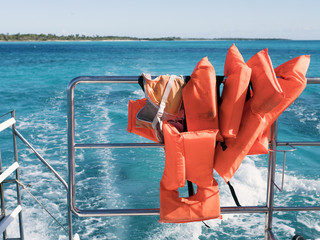 Yacht, life jackets, sea