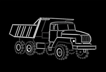 The truck on a black background