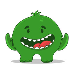 funny green monster character design, vector illustration