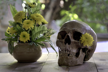 Skull needs to be a beautiful girl , with yellow flowers