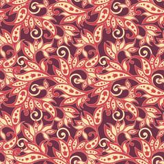 Folkloric Batik vector ornament. Ethnic Floral seamless pattern