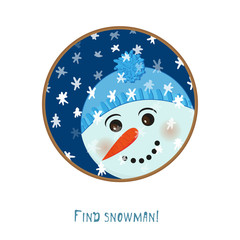 Cute christmas snowman icon on white background for decoration design, greeting card, winter season festive labels