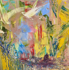 painted abstract background with oil paints