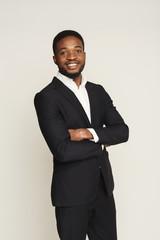 Handsome young black man portrait at studio background.