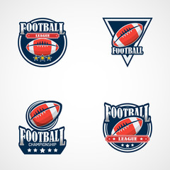 Set of American Football Logo Template. Vector College Logos Illustration