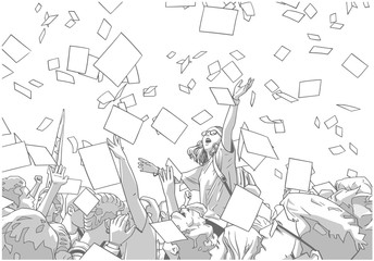 Illustration of students celebrating victory, graduation, freedom with sheets of paper flying in the air