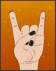 Heavy metal hand gesture. Rock festival poster.  Rock-n-roll sign on orange grunge background. Template for slogan, poster, flyers, banner and etc. Vector illustration.