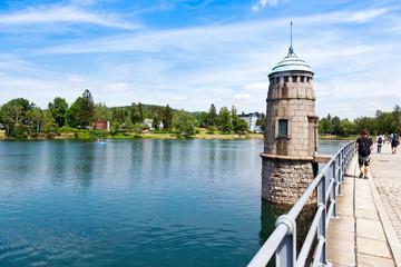 The dam of the Mseno water reservoir, Jablonec nad Nisou, Czech republic