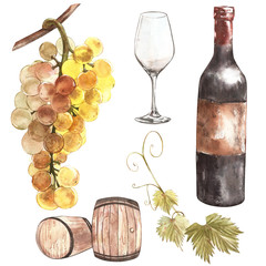 Wine set. Winemaking products in sketch style. Watercolor illustration with barrel, glass, grape twig. Classical alcoholic drink.