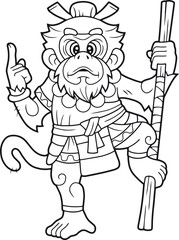 cartoon, funny monkey king, cute illustration