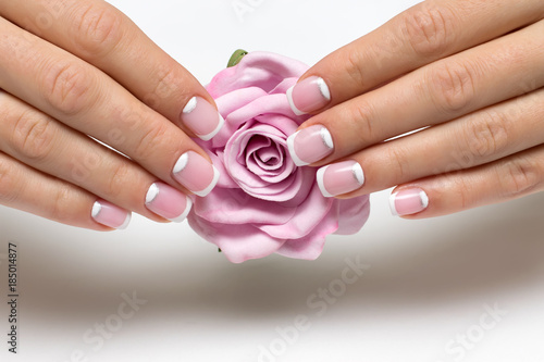 Wedding French Manicure With Silver On Short Square Nails A Pink Rose In Hands