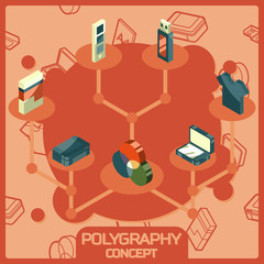 Polygraphy color isometric concept icons