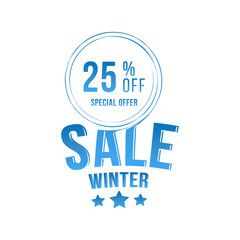 Winter sale tag with special offer 25% off. Vector element for Merry Christmas and Happy New Year