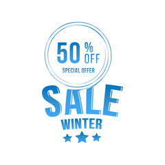 Winter sale tag with special offer 50% off. Vector element for Merry Christmas and Happy New Year