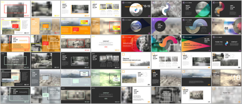 Big bundle of clean and minimal presentation templates.  Brochure cover vector design. Presentation slides for flyer, leaflet, brochure, corporate report, marketing, advertising, annual report, banner