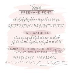 Handwritten freehand (free hand) font, including numbers, symbols, punctuation, ligatures and hand drawn arrows