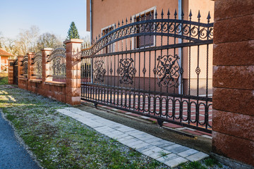 Iron fence with iron gate