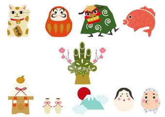日本文化。ラッキーチャーム。縁起物。正月用。アイコン。素材集。