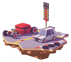 Vector low poly drag race