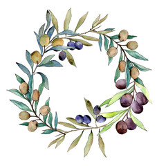 Olive tree wreath in a watercolor style. Full name of the plant: Branches of an olive tree. Aquarelle olive tree for background, texture, wrapper pattern, frame or border.
