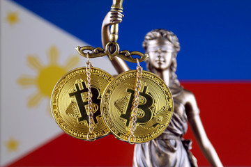 Symbol of law and justice, physical version of Bitcoin and Philippines Flag. Prohibition of cryptocurrencies, regulations, restrictions or security, protection, privacy.