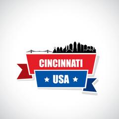Cincinnati skyline - ribbon banner - Ohio