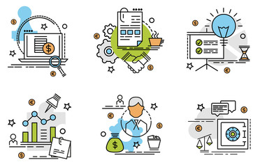 Set of outline icons of business. Colorful icons for website, mobile, app design and print.