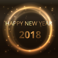 happy new year 2018 shiny golden star gradient circle abstract on black background yellow starry