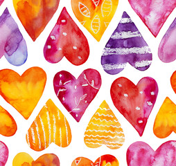 Watercolor hearts seamless pattern. Gradient of purple, red, yellow, orange, lilac, magenta, pink colors. Stripes, polka dots, spots, lines. Hand drawn watercolour illustration isolated on white.