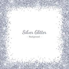 Silver glitter backround, square border frame. Vector
