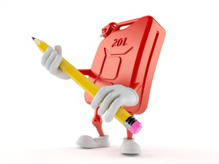 Petrol canister character holding pencil