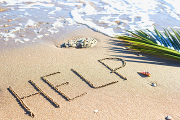 Help - sign in the sand on a background of sea and palm branch. Texture - soft wave of the sea.