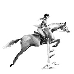 Horseback rider girl or woman and horse jumping in forest on white. Black and white monochrome watercolor or ink hand drawing art. Horseman on stallion. England equestrian sport fox hunting style