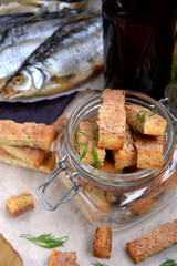 Croutons made of white bread with flavour of shrimps, crabs or fish. Homemade snacks