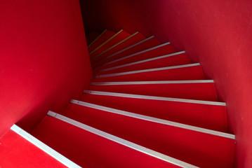 Red spiral staircase 赤い螺旋階段