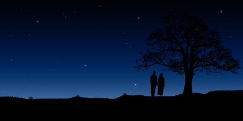 Silhouettes of a young couple under the starry sky