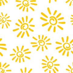 Hand drawn sun icon seamless pattern background. Business flat vector illustration. Sun sign symbol pattern.