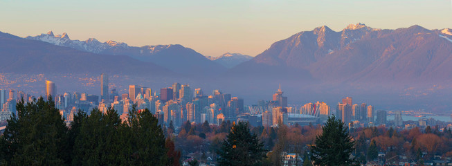 Aluminium Prints American Famous Place Vancouver BC Downtown Cityscape at Sunset Panorama British Columbia Canada